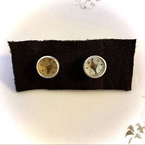 Vintage Silver Mini Compass Stud Earrings